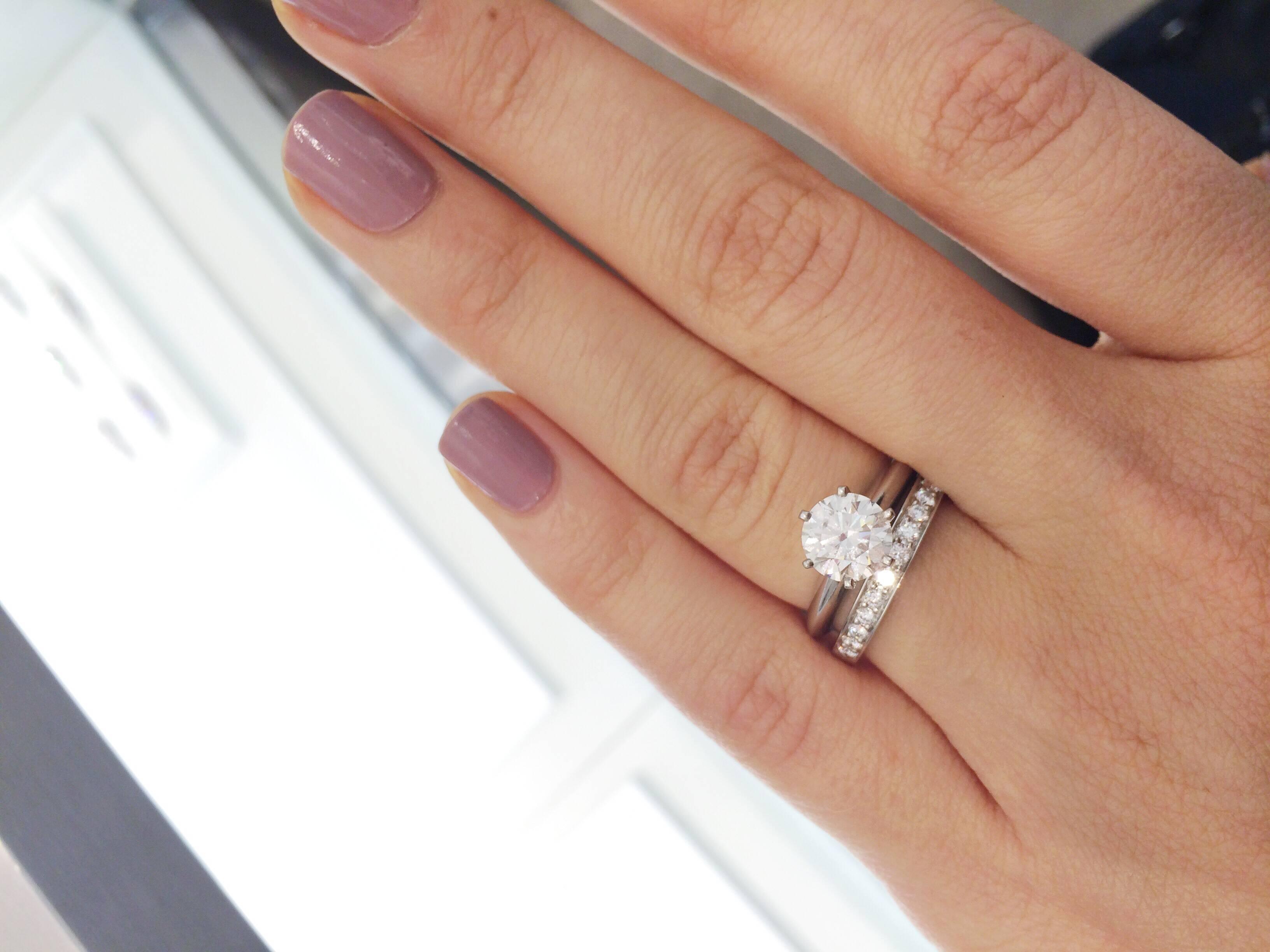Tiffany Setting + Wedding Bands – Weddingbee Throughout Tiffanys Wedding Bands (Gallery 309 of 339)