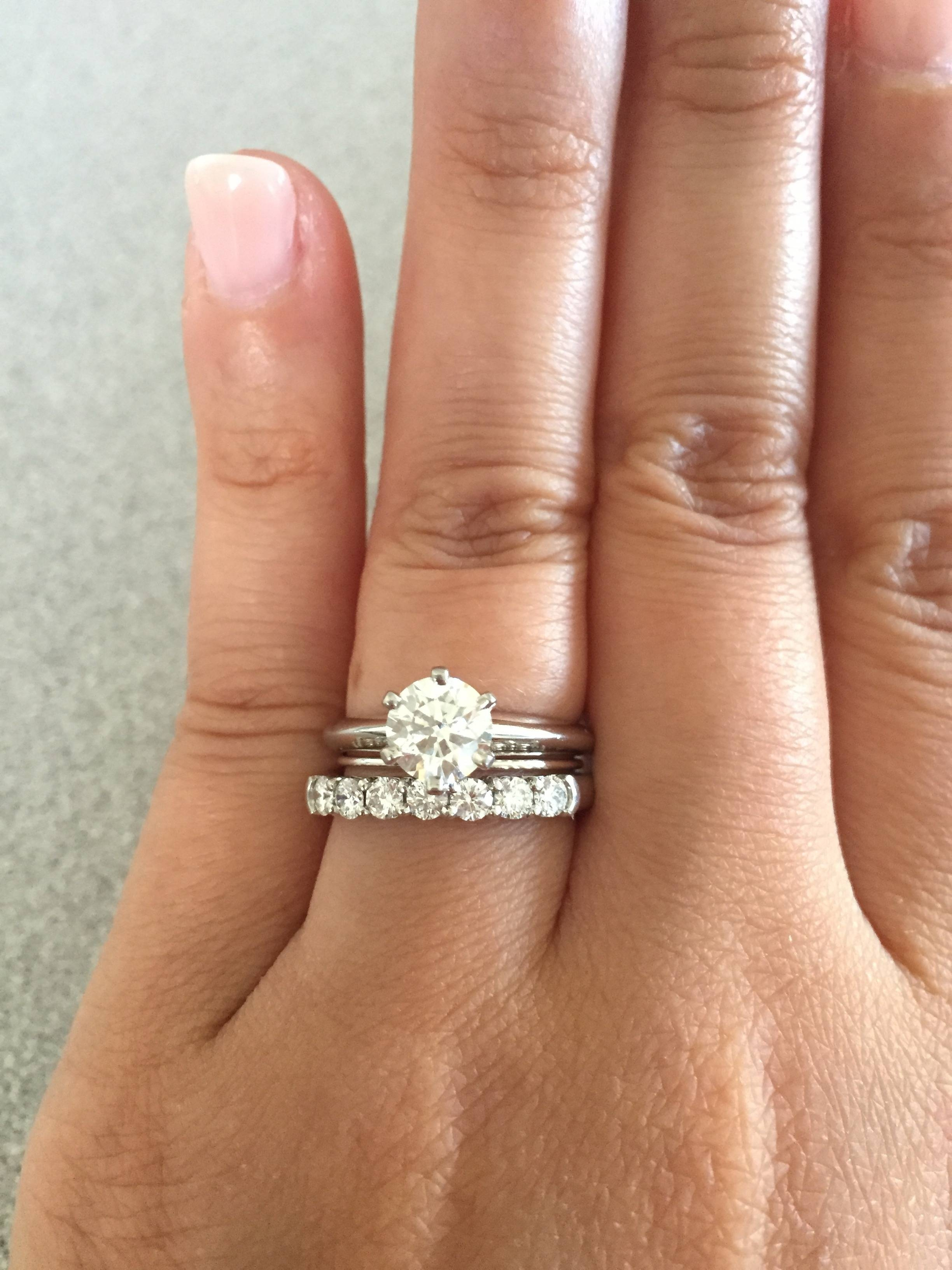 Tiffany Solitaire With Flush Wedding Band? – Weddingbee Within Tiffanys Wedding Bands (Gallery 303 of 339)