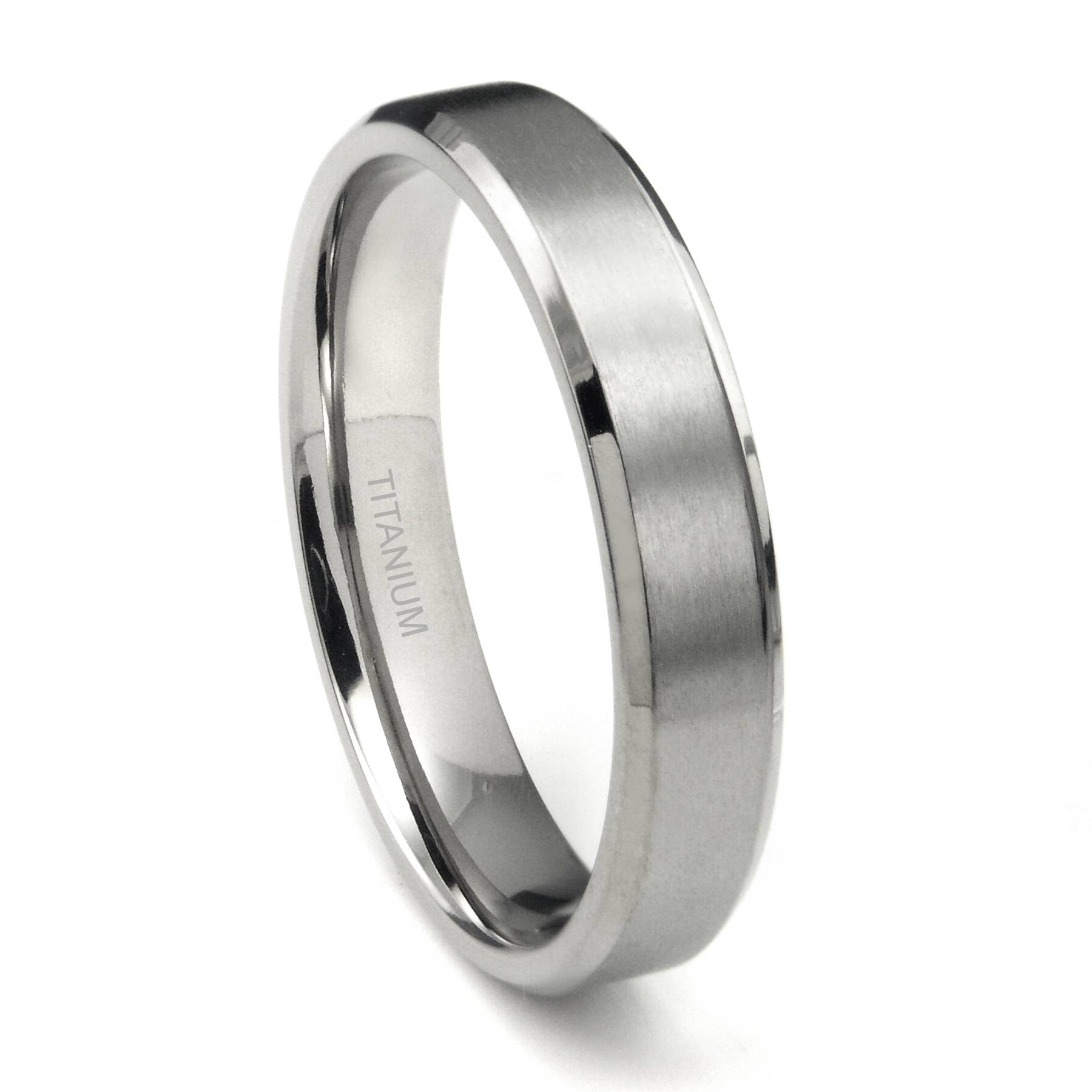 Titanium 5Mm Beveled Wedding Band Ring W/ Brushed Center Pertaining To 2018 Mens Beveled Wedding Bands (Gallery 4 of 15)