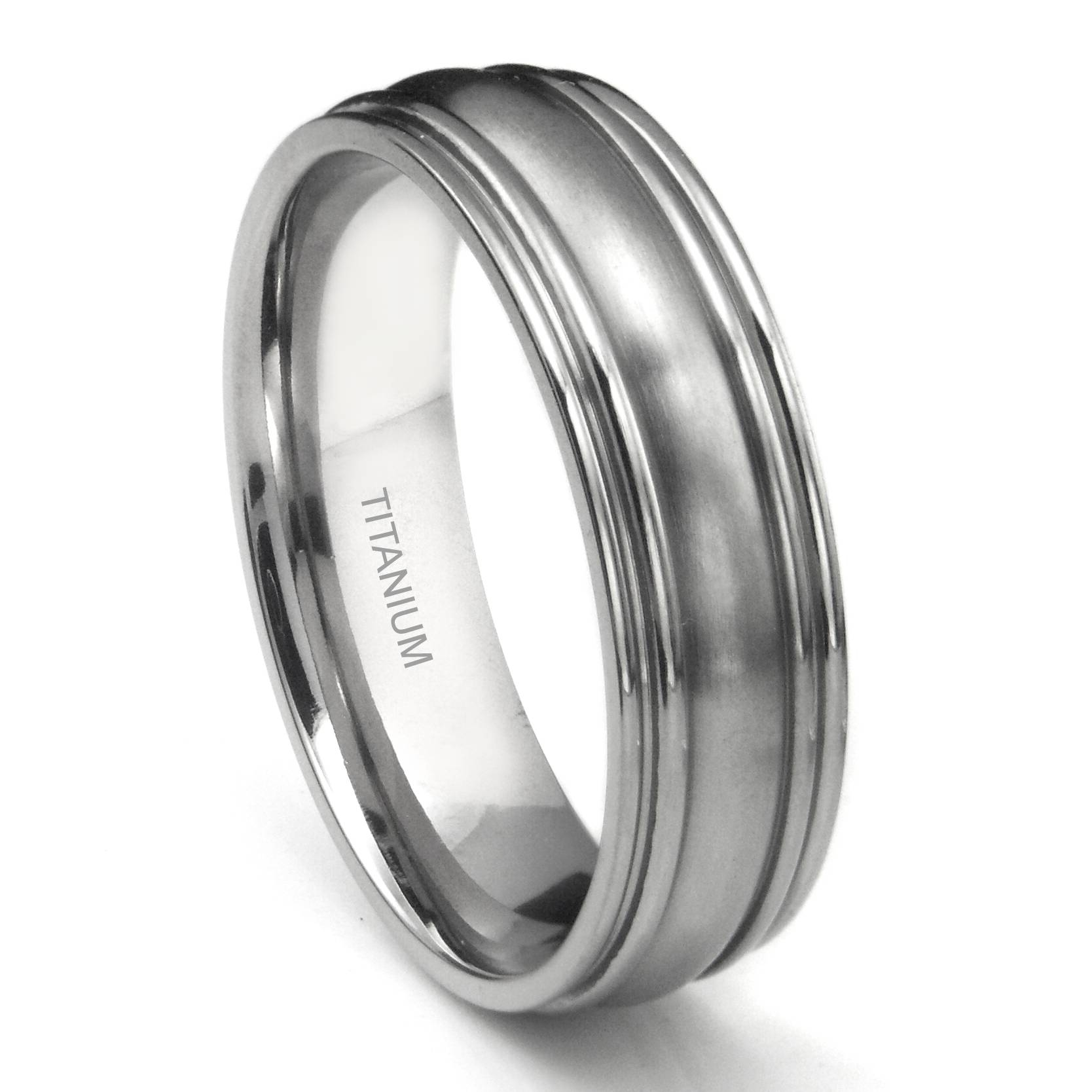 Titanium 7Mm Ribbed Men's Wedding Ring Within Titanium Men Wedding Rings (View 9 of 15)