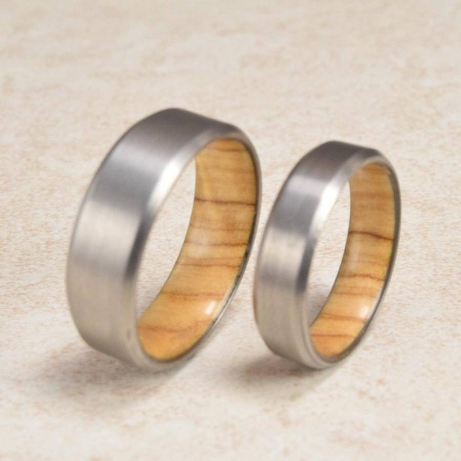 Titanium & Olive Wood // Exotic Hardwood Rings // Couples Wedding Intended For Newest Exotic Wedding Bands (Gallery 2 of 15)
