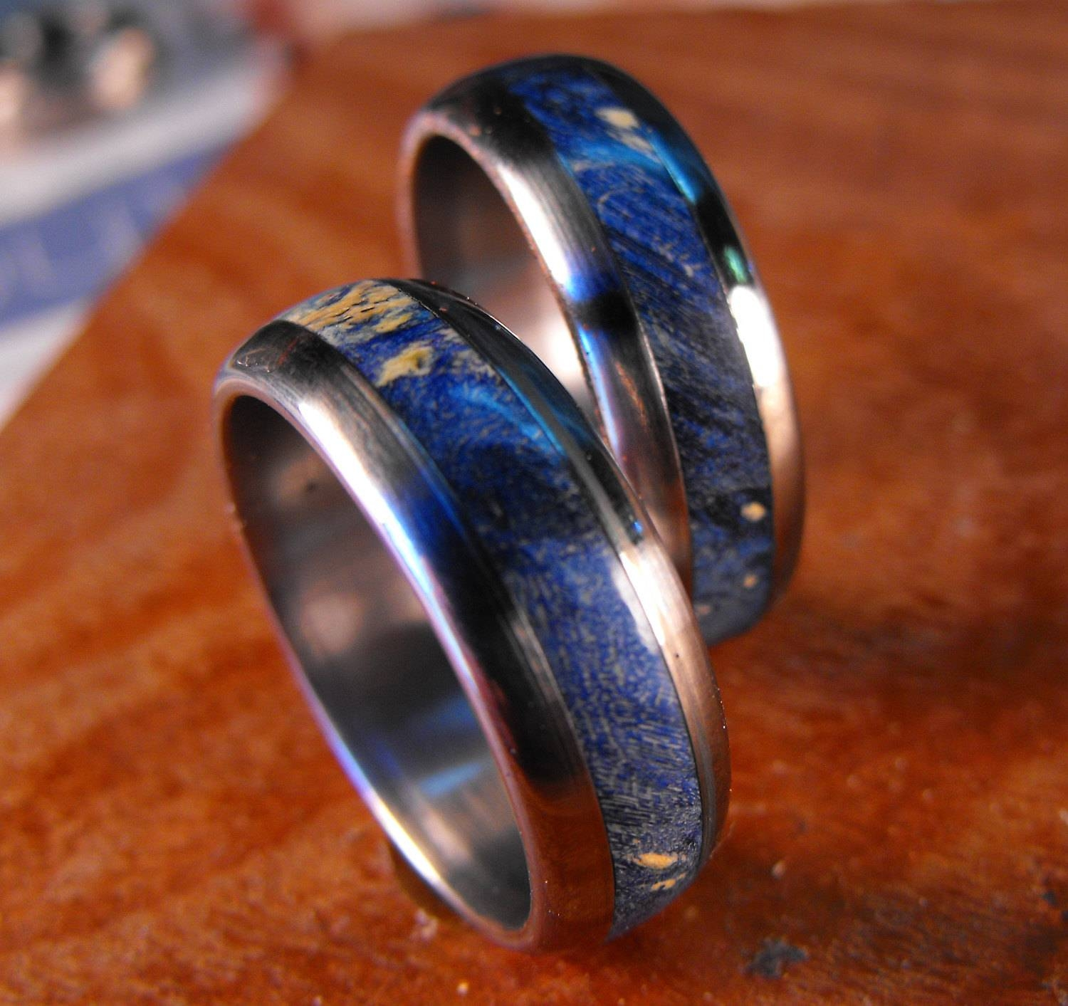 Titanium Rings Wedding Rings Wedding Ring Set His And Hers Intended For Wood Inlay Wedding Bands (View 11 of 15)