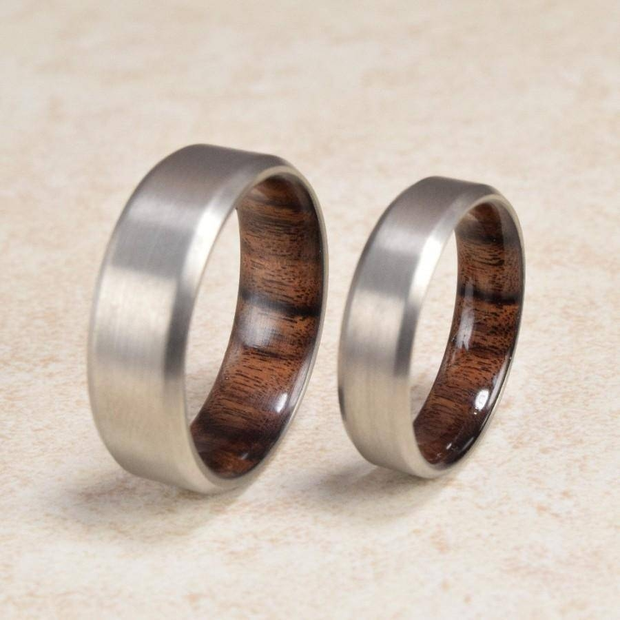 Titanium & Santos Mahogany // Exotic Hardwood Ring // Men's With Regard To Recent Exotic Wedding Bands (View 8 of 15)