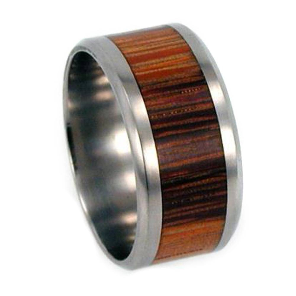 Titanium Wedding Ring With Marble Wood And Beveled Edges Inside Wood Inlay Wedding Bands (Gallery 13 of 15)