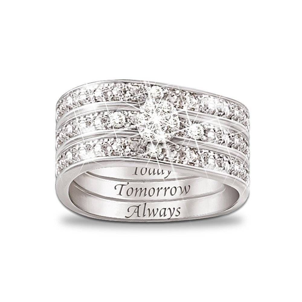 "Today, Tomorrow, Always"" Engraved Diamond 3 Band Ring Intended For 3 Band Engagement Rings (Gallery 5 of 15)"
