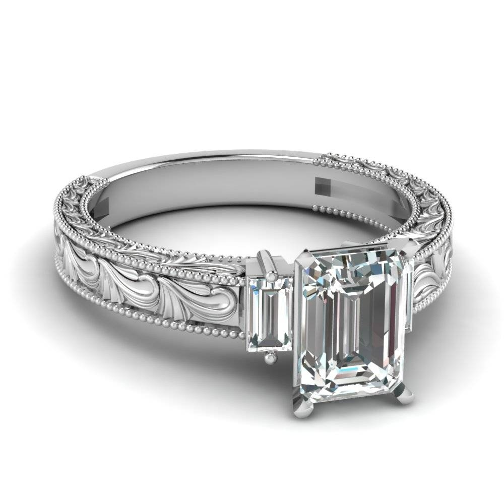 Top 20 Emerald Cut Diamond Rings Style – Fascinating Diamonds With Regard To Baguette Cut Diamond Wedding Bands (View 13 of 15)