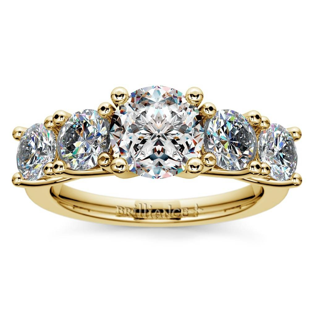 Trellis Five Diamond Engagement Ring In Yellow Gold (3/4 Ctw) With Five Diamond Engagement Ring (View 14 of 15)