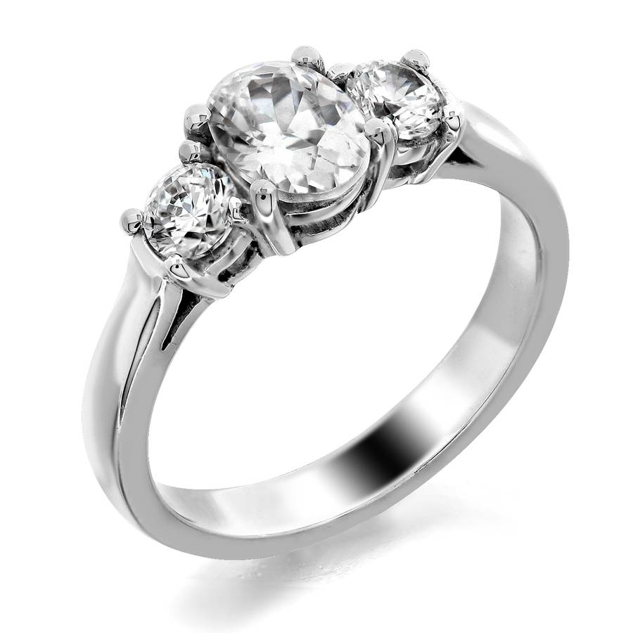 Trellis Three Stone Ring Round Side Stones Oval Center | Fine Regarding Three Stone Engagement Rings With Side Stones (View 7 of 15)