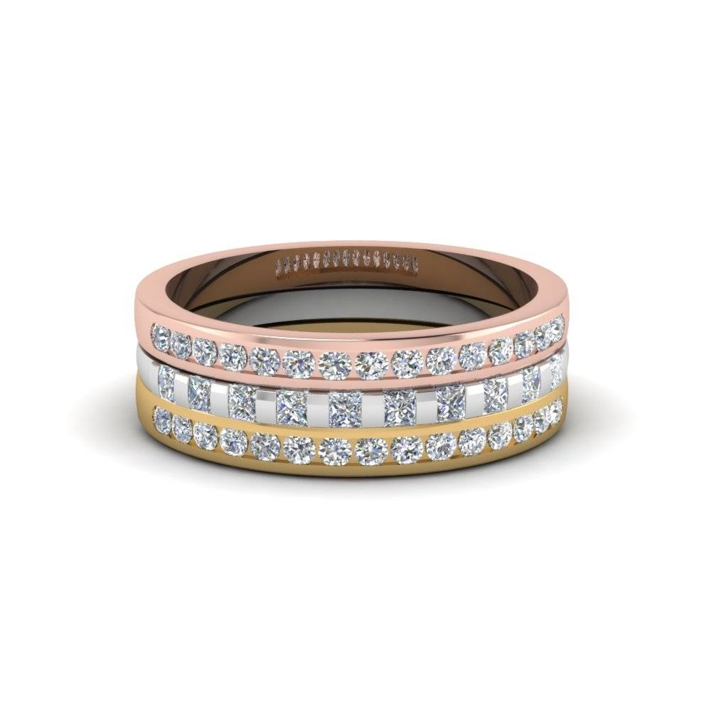 Tricolor 3 Ring Stackable Diamond Anniversary Gifts Band In 14k In Anniversary Wedding Bands Sets (View 8 of 15)
