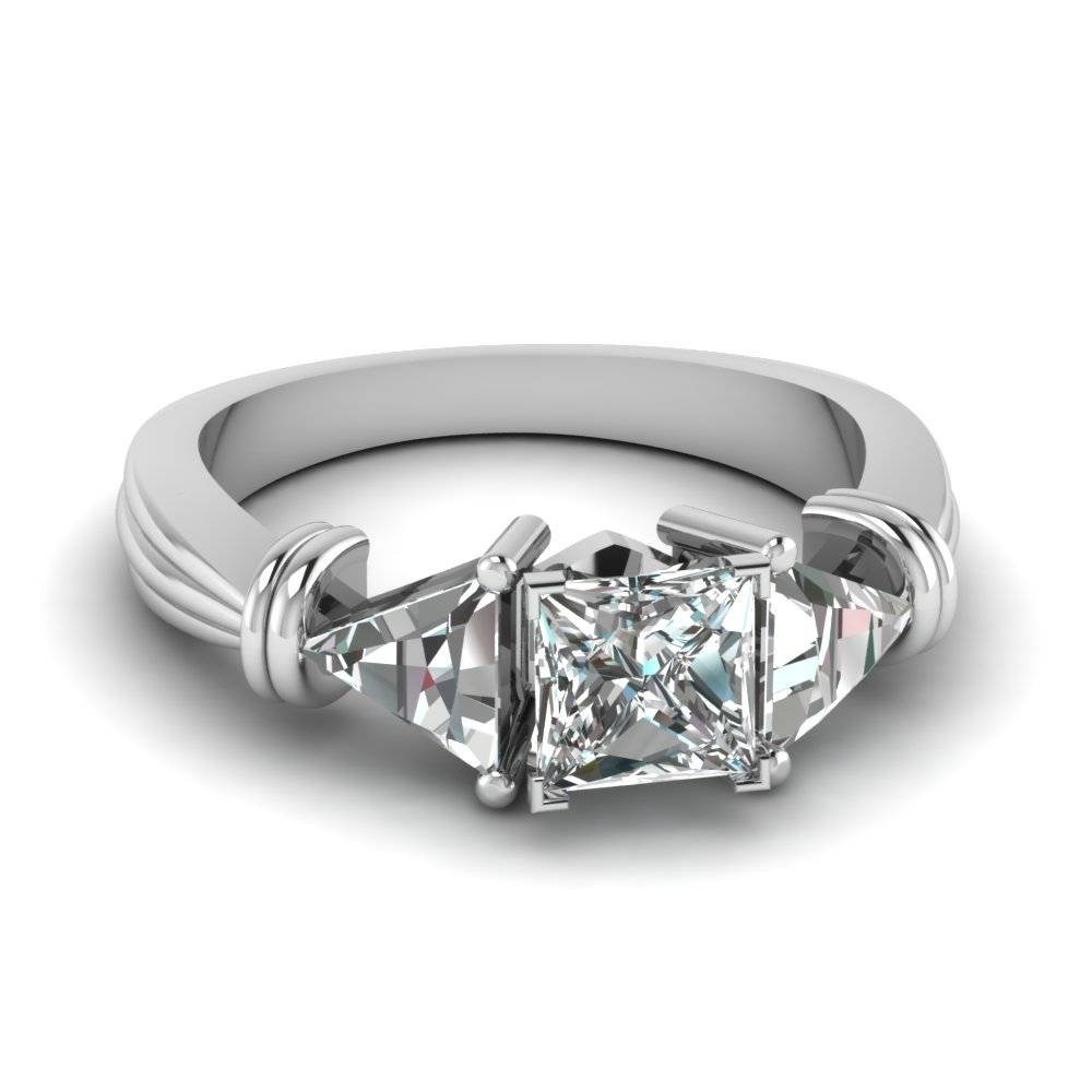 Trillion 3 Stone Heart Diamond Ring In 14k White Gold Within Triangle Cut Diamond Engagement Rings (View 9 of 15)