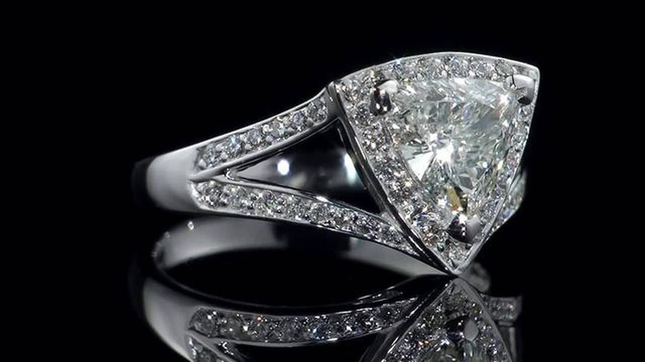 Trillion Cut Diamond Engagement Ring In Hd On Vimeo Intended For Triangle Cut Diamond Engagement Rings (View 4 of 15)