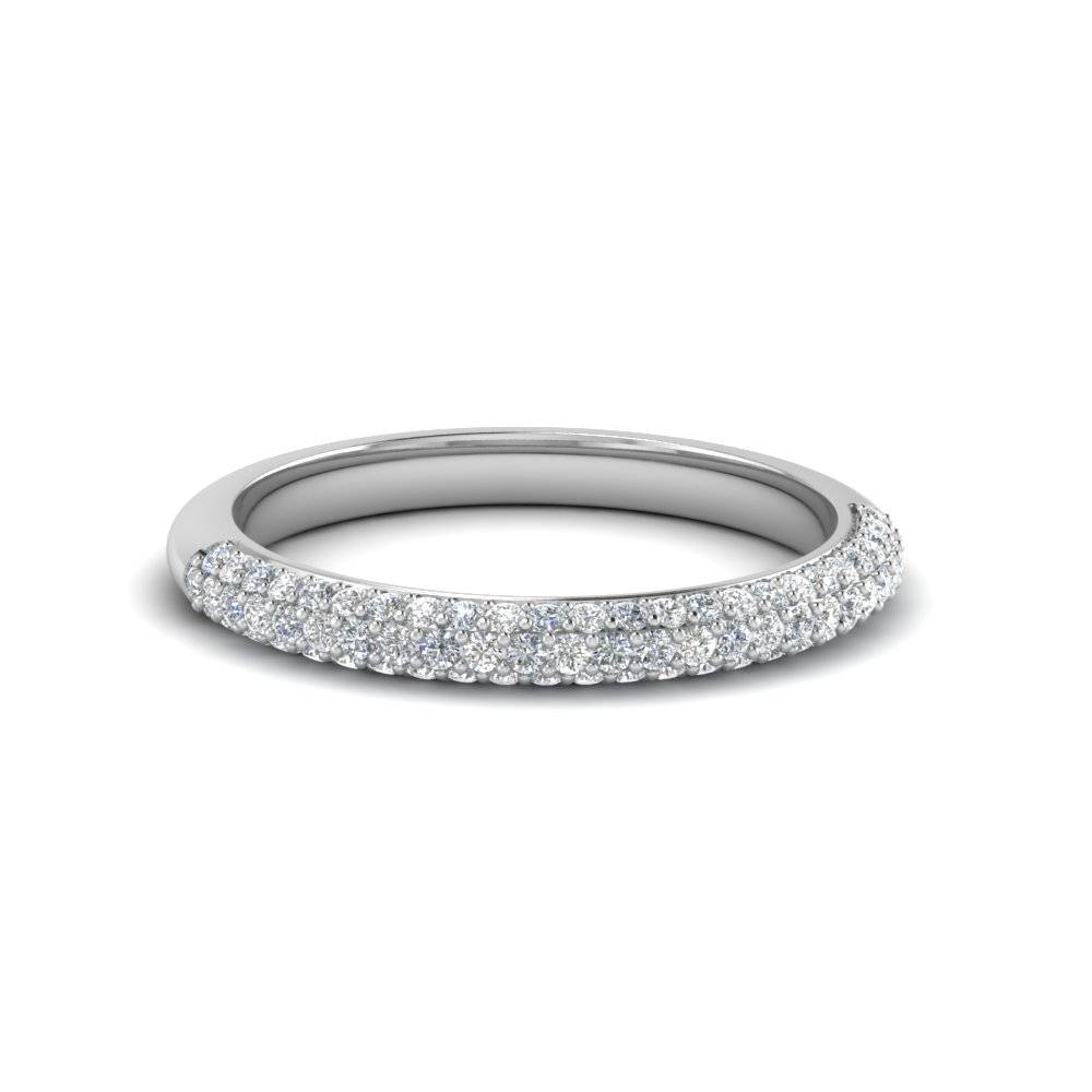 Trio Micropave Diamond Womens Wedding Band In 14K White Gold In Most Up To Date Pave Diamond Wedding Bands (Gallery 11 of 15)