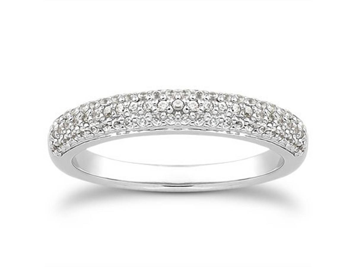 Triple Row Micro  Pave Diamond Wedding Ring Band In 14K White Gold Within Micro Pave Wedding Bands (View 13 of 15)