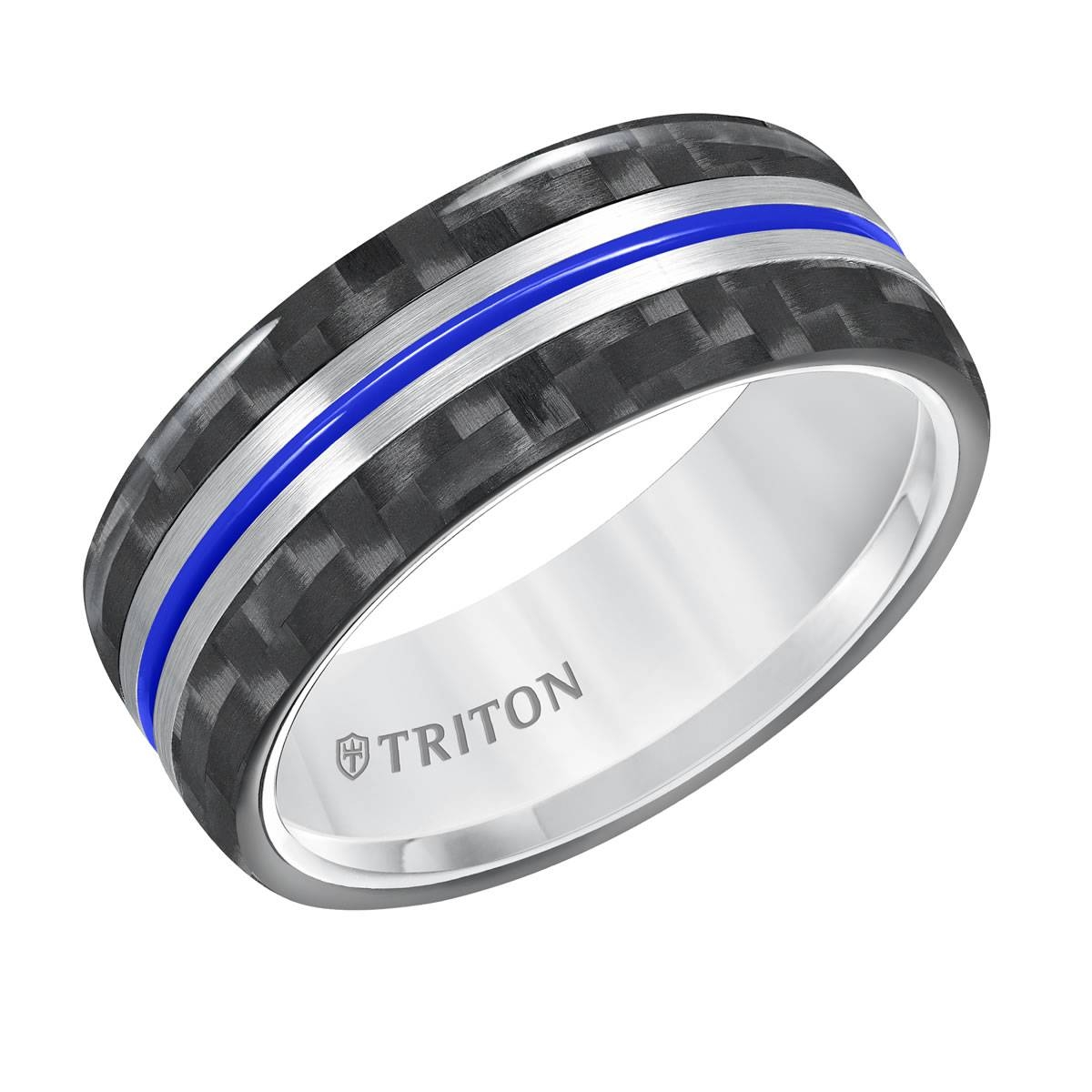 Triton 8Mm White Tungstenair Comfort Fit Men's Wedding Band With Throughout Carbon Wedding Bands (Gallery 1 of 15)