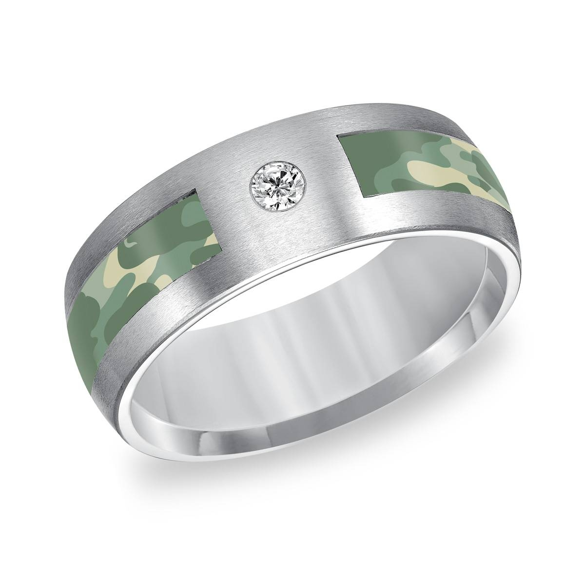 Triton Tungsten Carbide 8Mm Diamond Wedding Band With Green Within Jewelry Wedding Bands (Gallery 14 of 15)