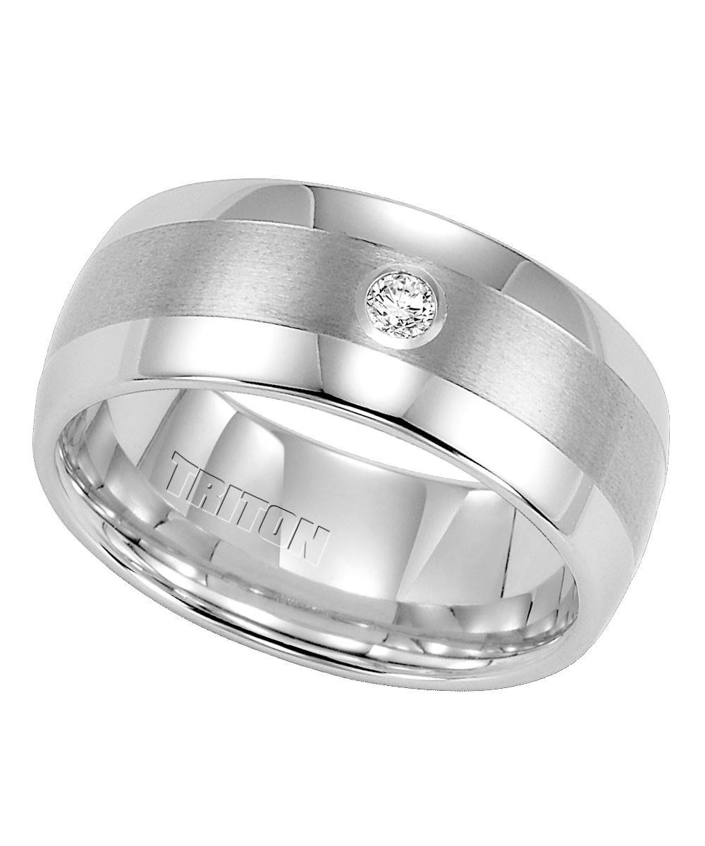 Triton, White Tungsten Carbide 9Mm Diamond Wedding Band | Samuels With Regard To Tungsten Diamonds Wedding Bands (View 9 of 15)