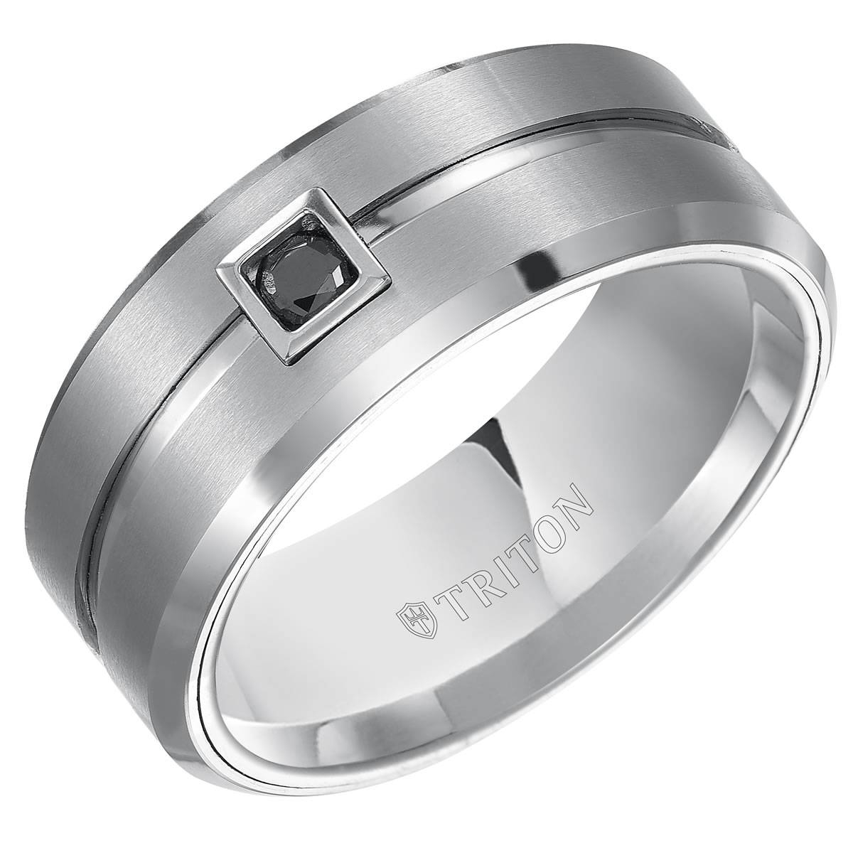 Triton, White Tungsten Carbide 9Mm I3 Ij Black Diamond Comfort Fit For Tungsten Diamonds Wedding Bands (Gallery 8 of 15)