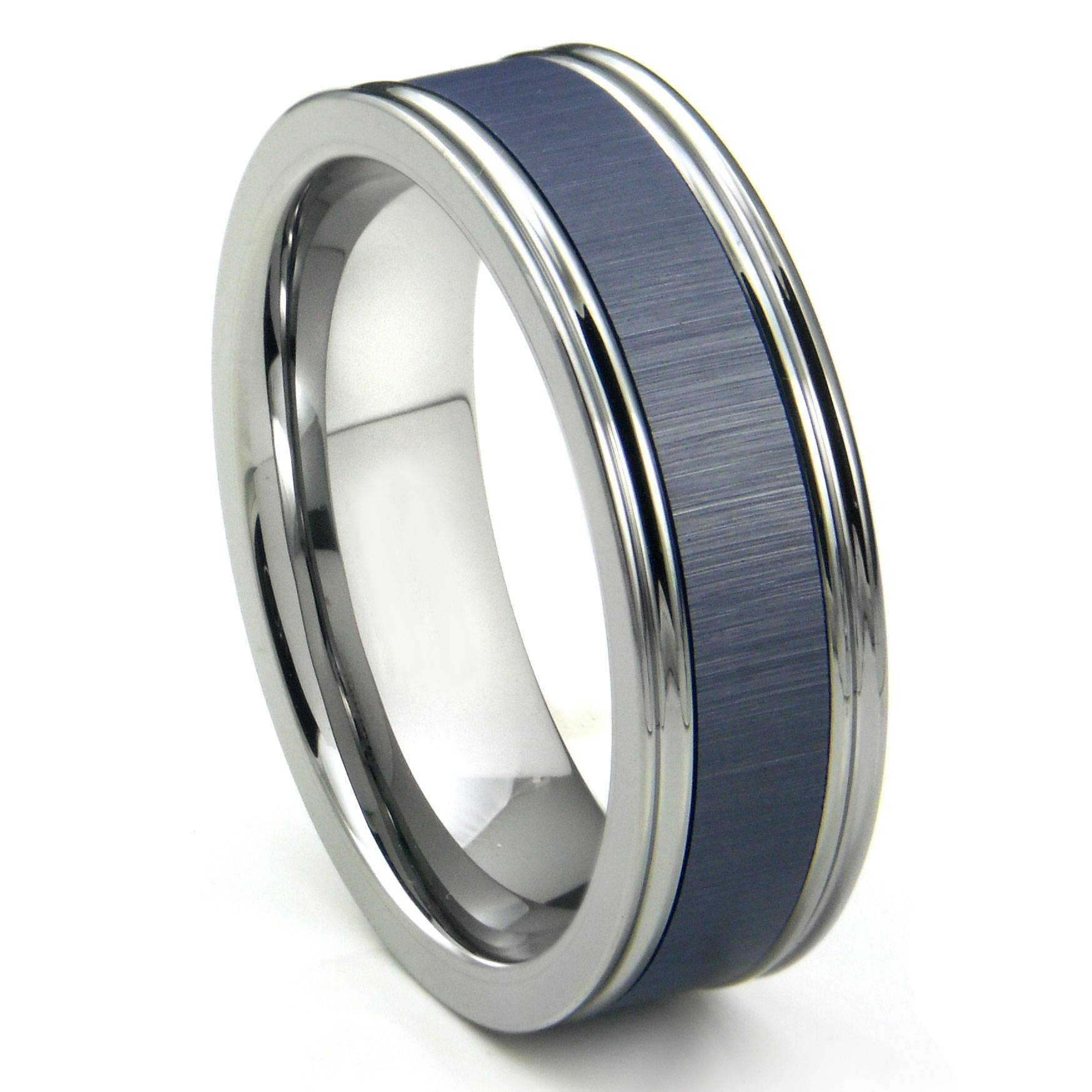 Tungsten Carbide Blue Ceramic Inlay Wedding Band Ring W Regarding Blue Wedding Bands For Men (View 8 of 15)