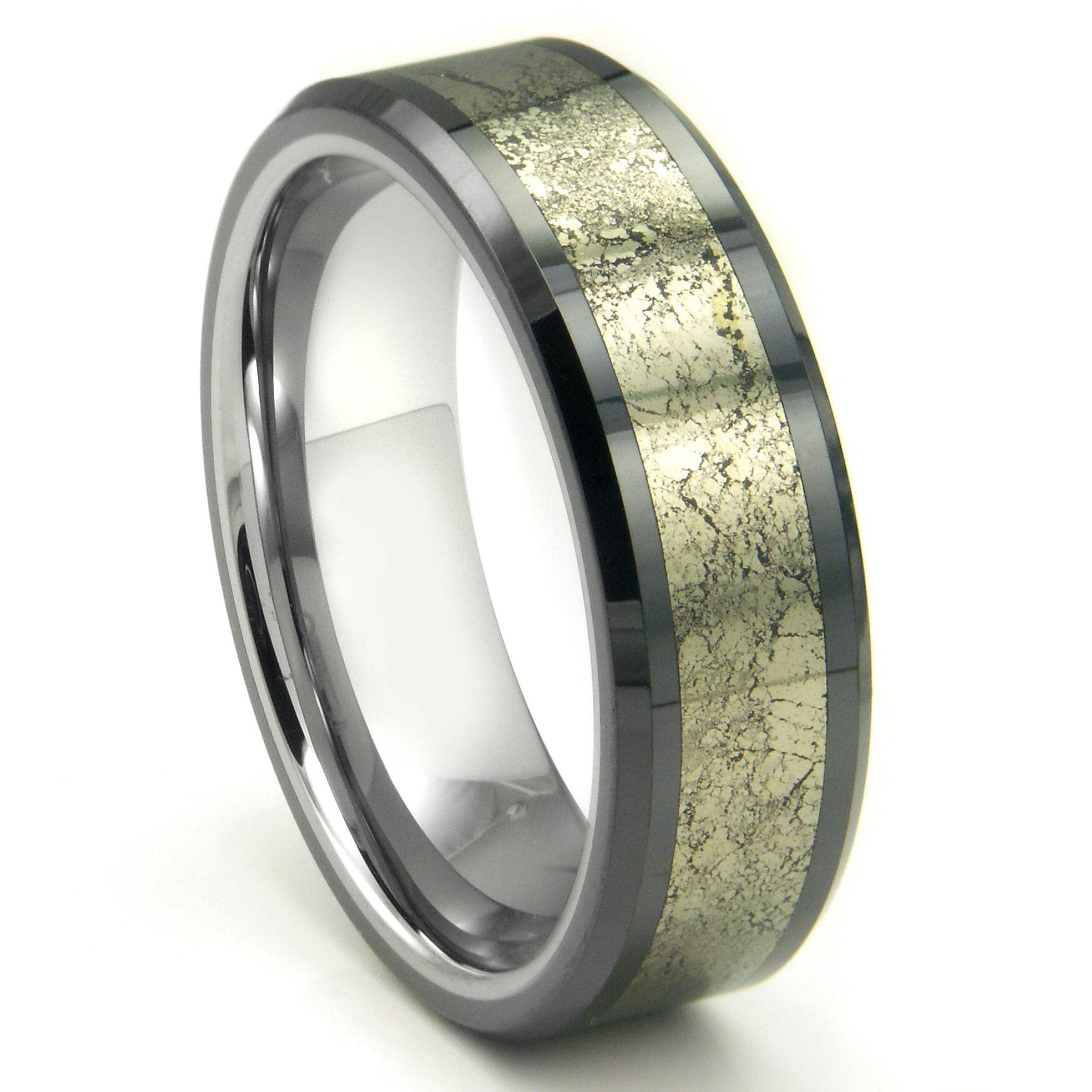 Tungsten Carbide Golden Meteorite Inlay Wedding Band Ring Throughout Most Popular Mes Wedding Bands (View 10 of 15)