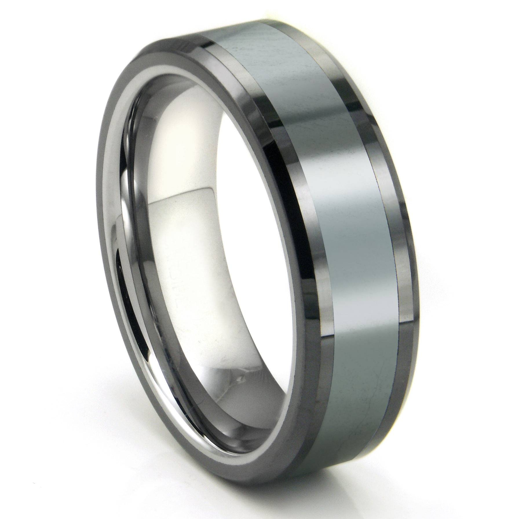 Tungsten Carbide Grey Meteorite Inlay Wedding Band Ring Pertaining To Black Metal Wedding Bands (View 12 of 15)