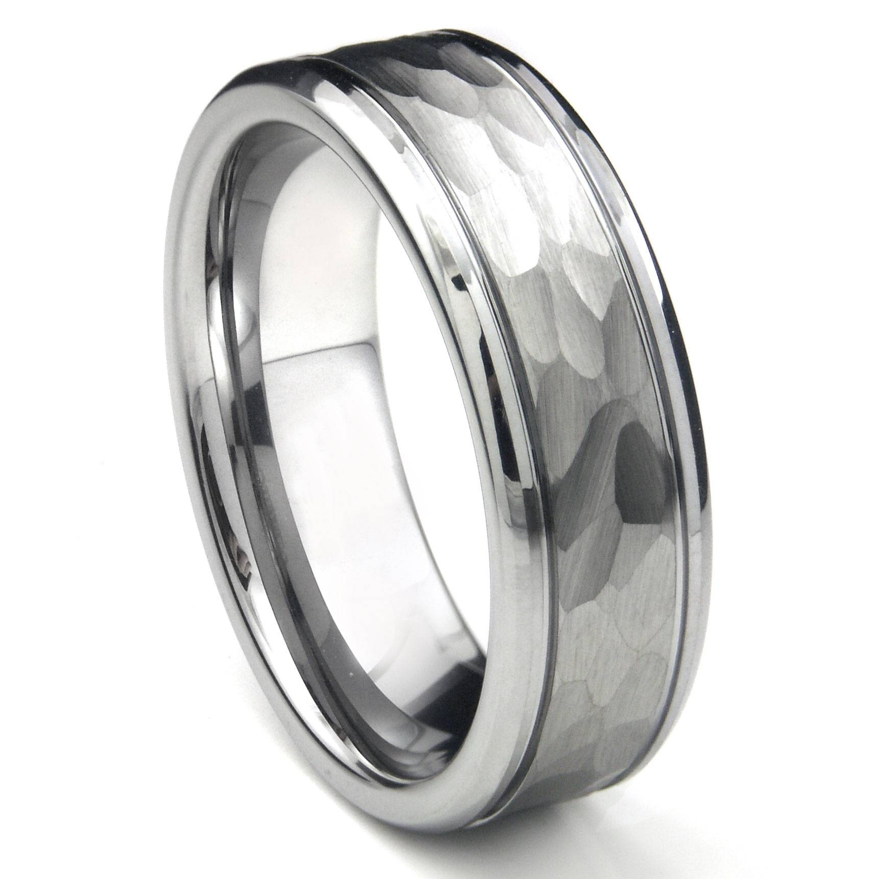 Tungsten Carbide Hammer Finish Wedding Band Ring /w Grooves Regarding Black Diamond Mens Wedding Bands (View 13 of 15)