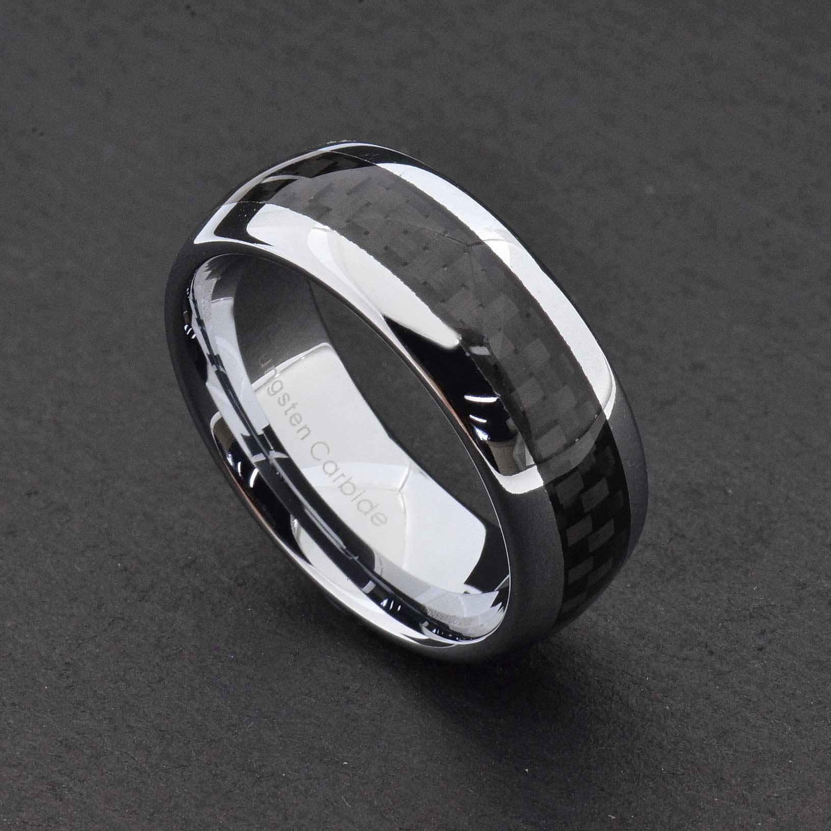 Tungsten Carbide Ring Comfort Fit Wedding Band Men Silver Blue Pertaining To Mens Wedding Bands Comfort Fit (View 15 of 15)