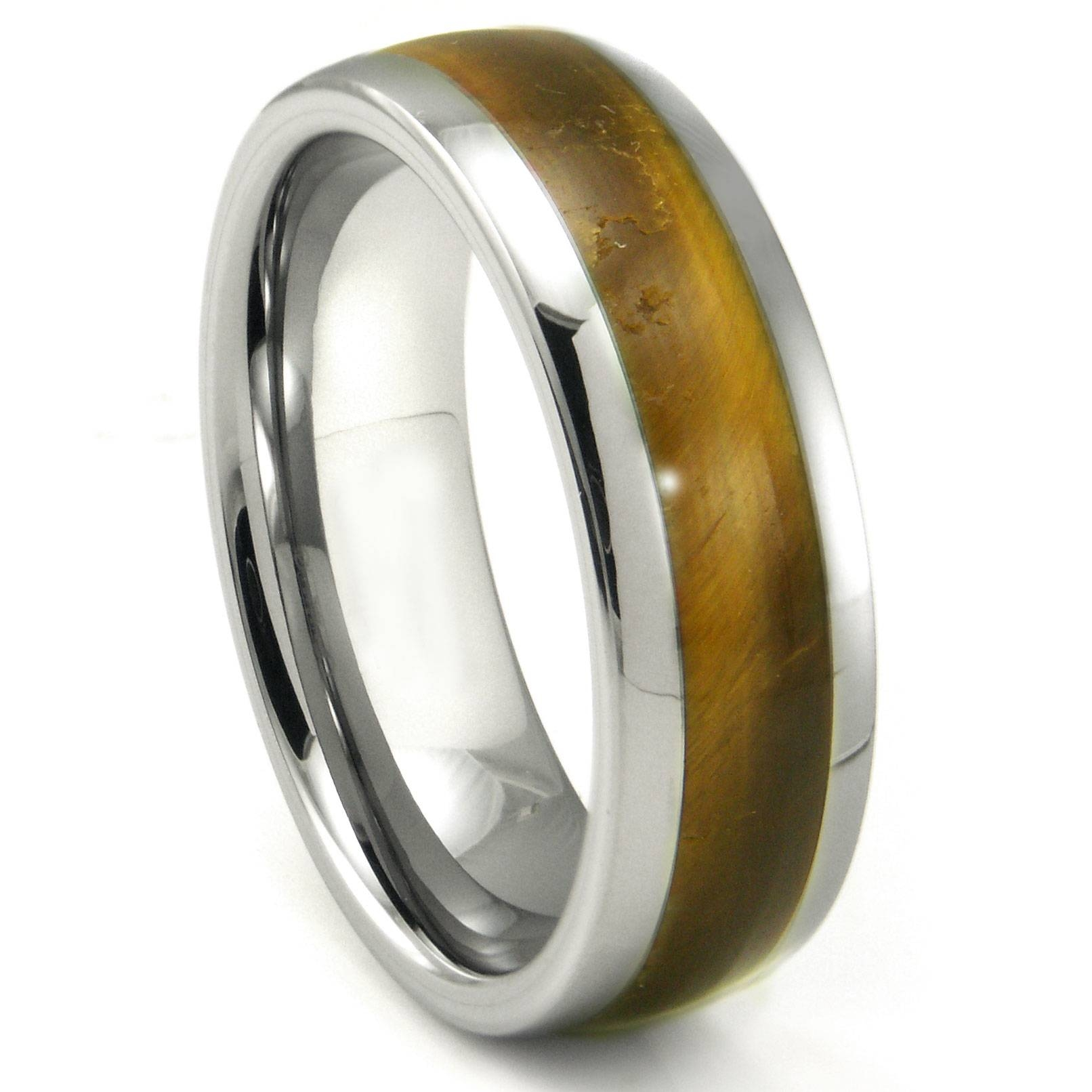 Tungsten Carbide Tiger Eye Inlay Dome Wedding Band Ring Throughout Titanium Wedding Bands For Men (View 13 of 15)