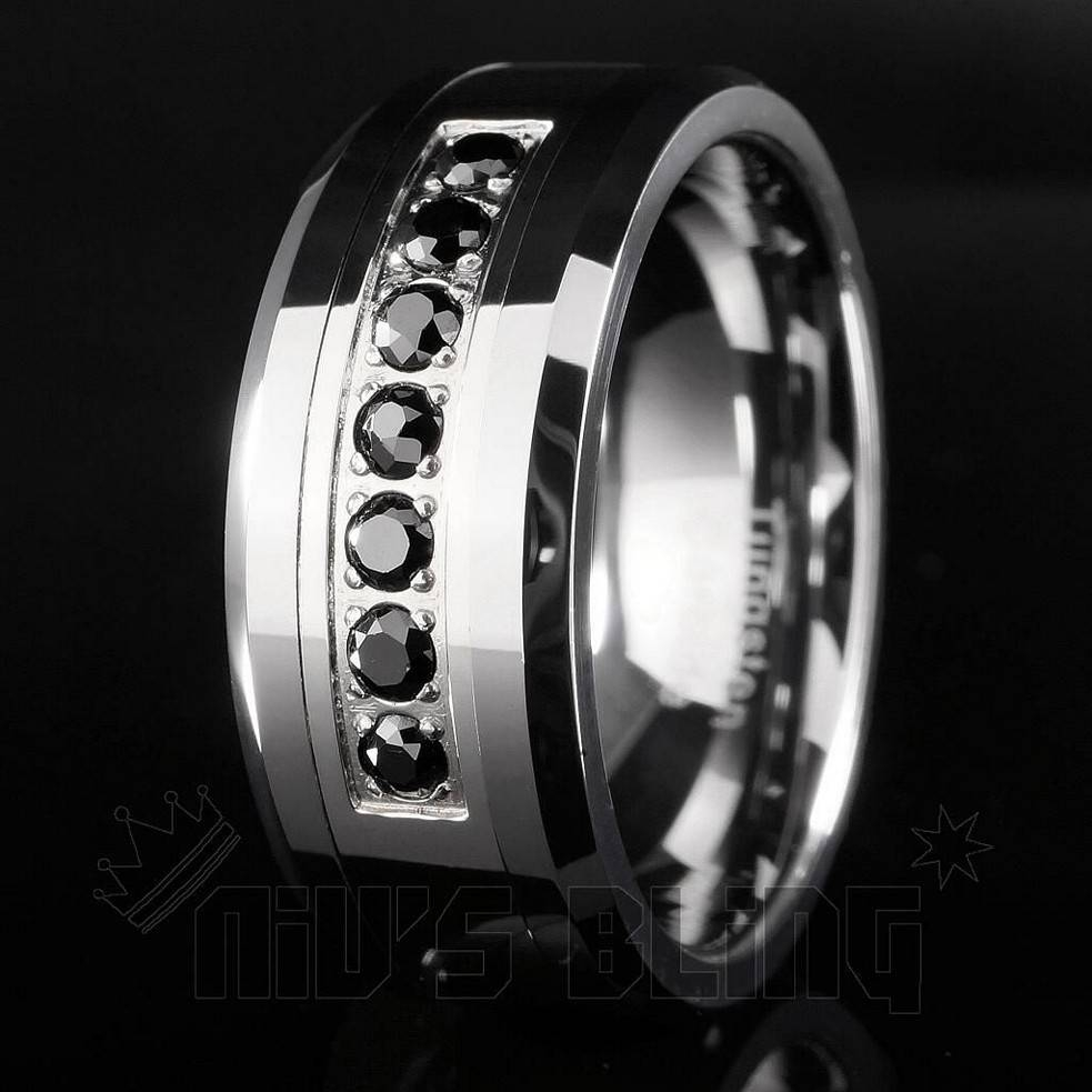 Tungsten Carbide Wedding Bands Tags : Tungsten Wedding Rings With For Mens Black Tungsten Wedding Bands With Diamonds (View 12 of 15)