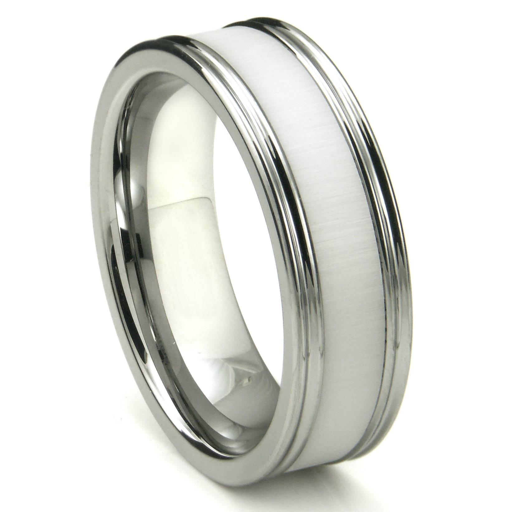 Tungsten Carbide White Ceramic Inlay Wedding Band Ring W Inside White Ceramic Wedding Bands (Gallery 227 of 339)