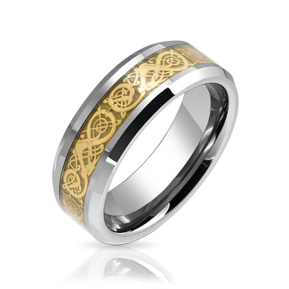 Tungsten Celtic Dragon Inlay Flat Comfort Fit Wedding Band For Mens Wedding Bands With Engraving (Gallery 14 of 15)
