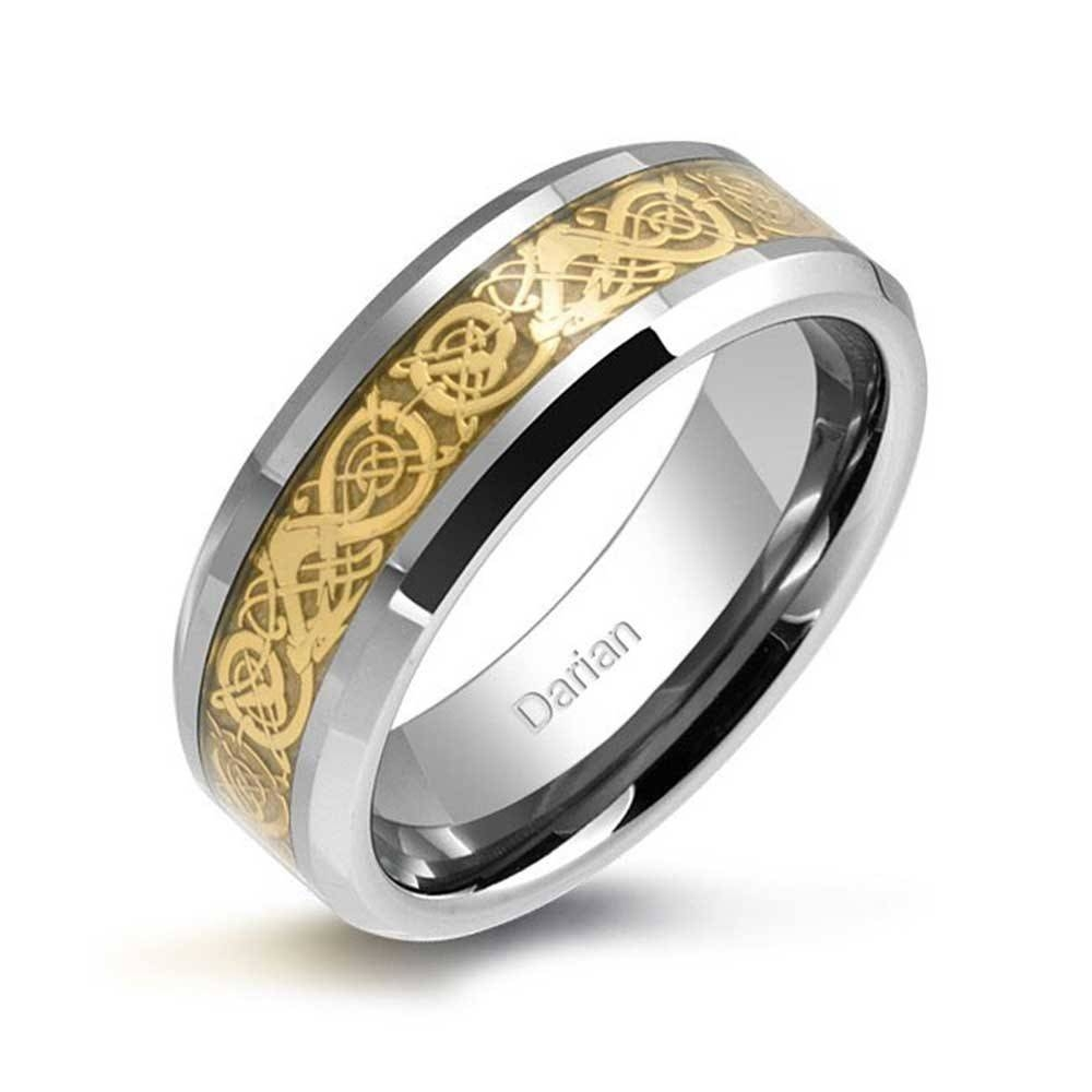 Tungsten Celtic Dragon Inlay Flat Comfort Fit Wedding Band Within Tungsten Wedding Bands (View 11 of 15)