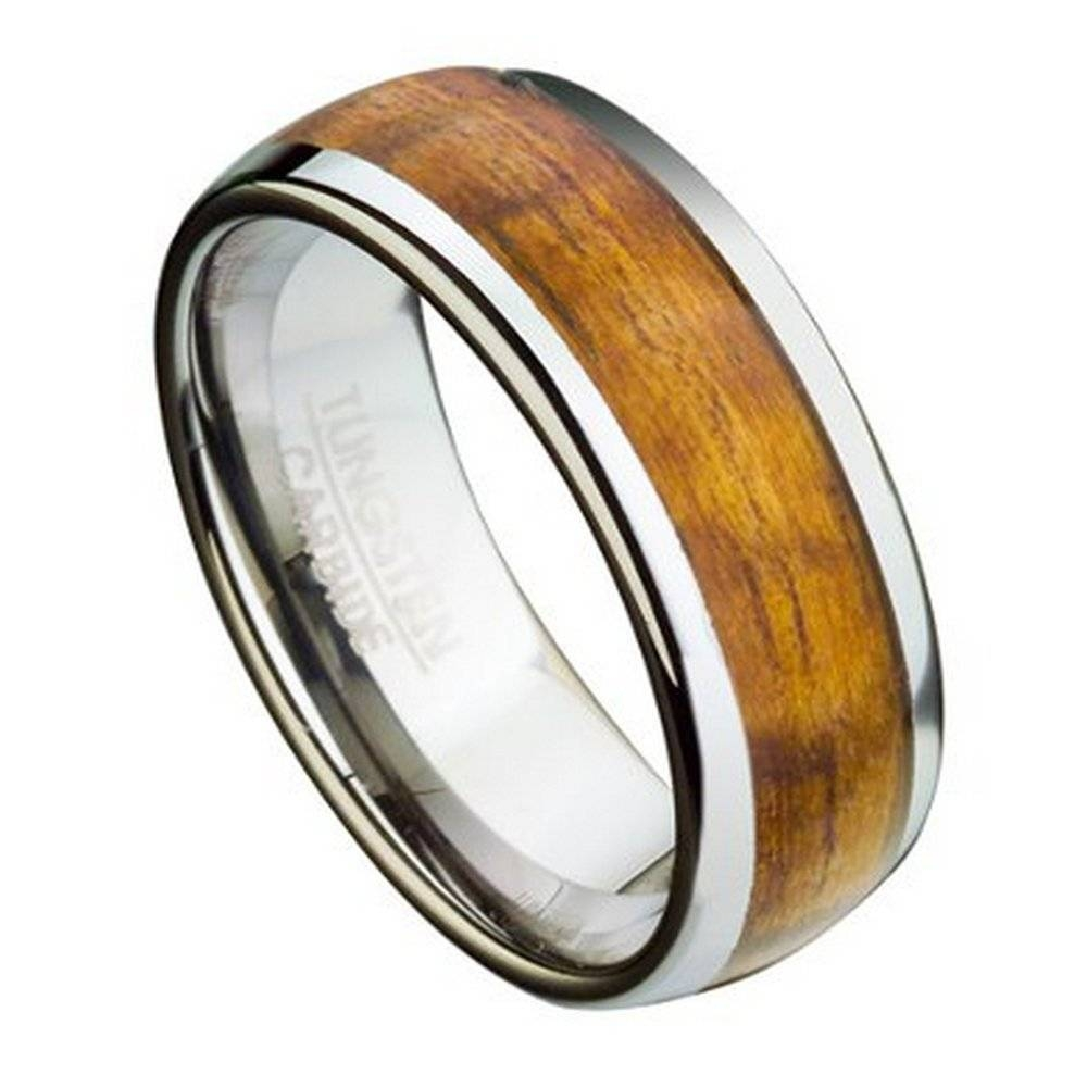 Tungsten Ring For Men With Koa Wood Inlay And Domed Profile Intended For Mens Wedding Bands With Wood Inlay (View 2 of 10)