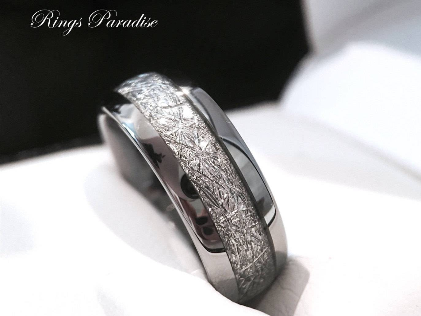 Tungsten Wedding Band His And Her Promise Ring Imitated Regarding Tungsten Diamonds Wedding Bands (View 5 of 15)