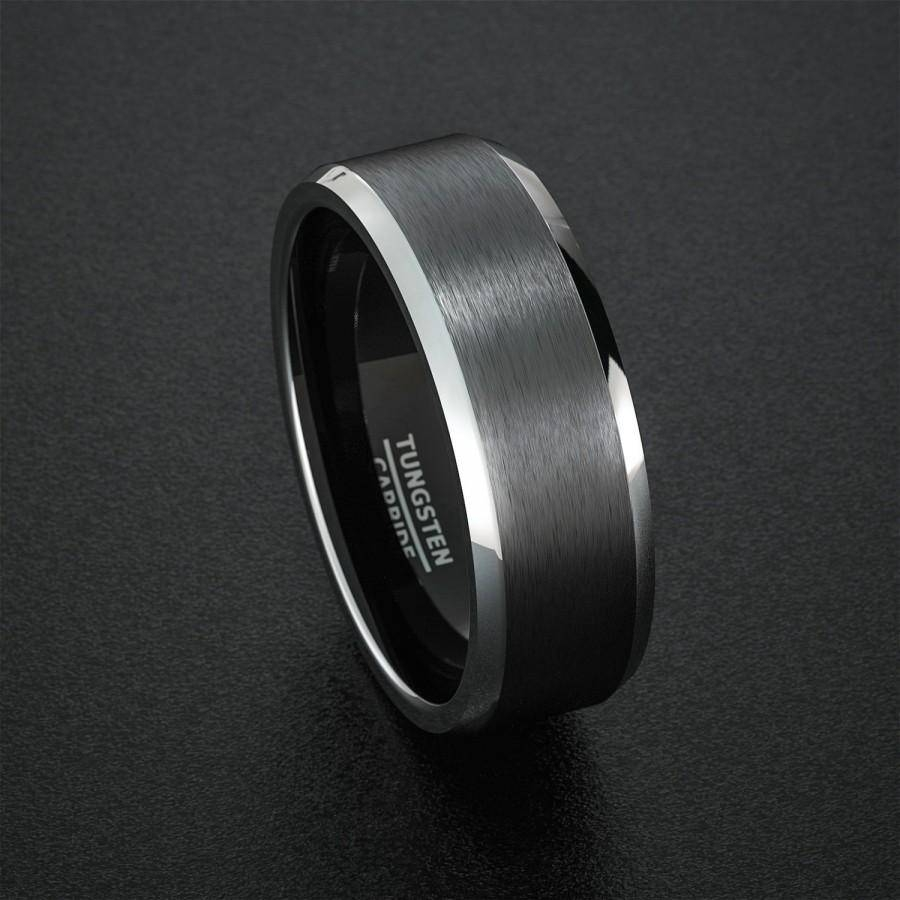 Tungsten Wedding Band Mens Ring Black Tungsten Rings Brushed Matte In Current Beveled Edge Mens Wedding Bands (View 12 of 15)