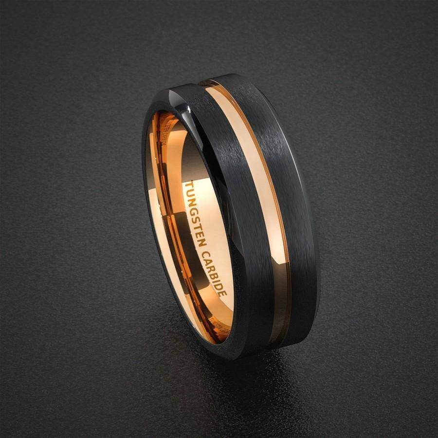 Tungsten Wedding Band Mens Ring Two Tone Rose Gold Black Center In 2018 Beveled Edge Mens Wedding Bands (View 13 of 15)