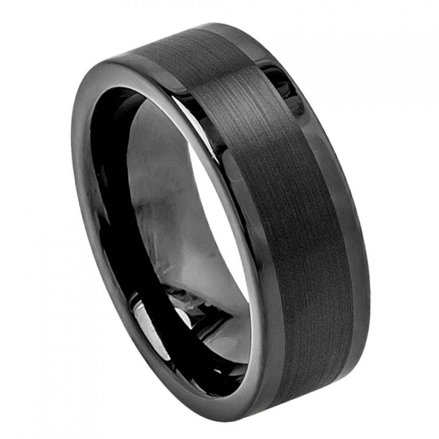 Tungsten Wedding Band, Men's Rings, Wedding Rings Mens Ring Black Within Black Metal Wedding Bands (View 14 of 15)