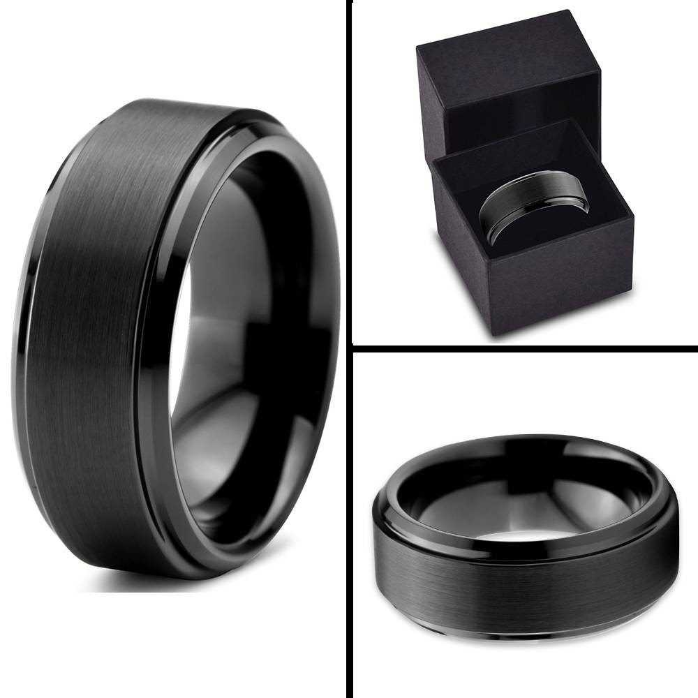 Tungsten Wedding Band Ring 8Mm For Men Women Comfort Fit Black With Regard To Black Metal Wedding Bands (View 13 of 15)