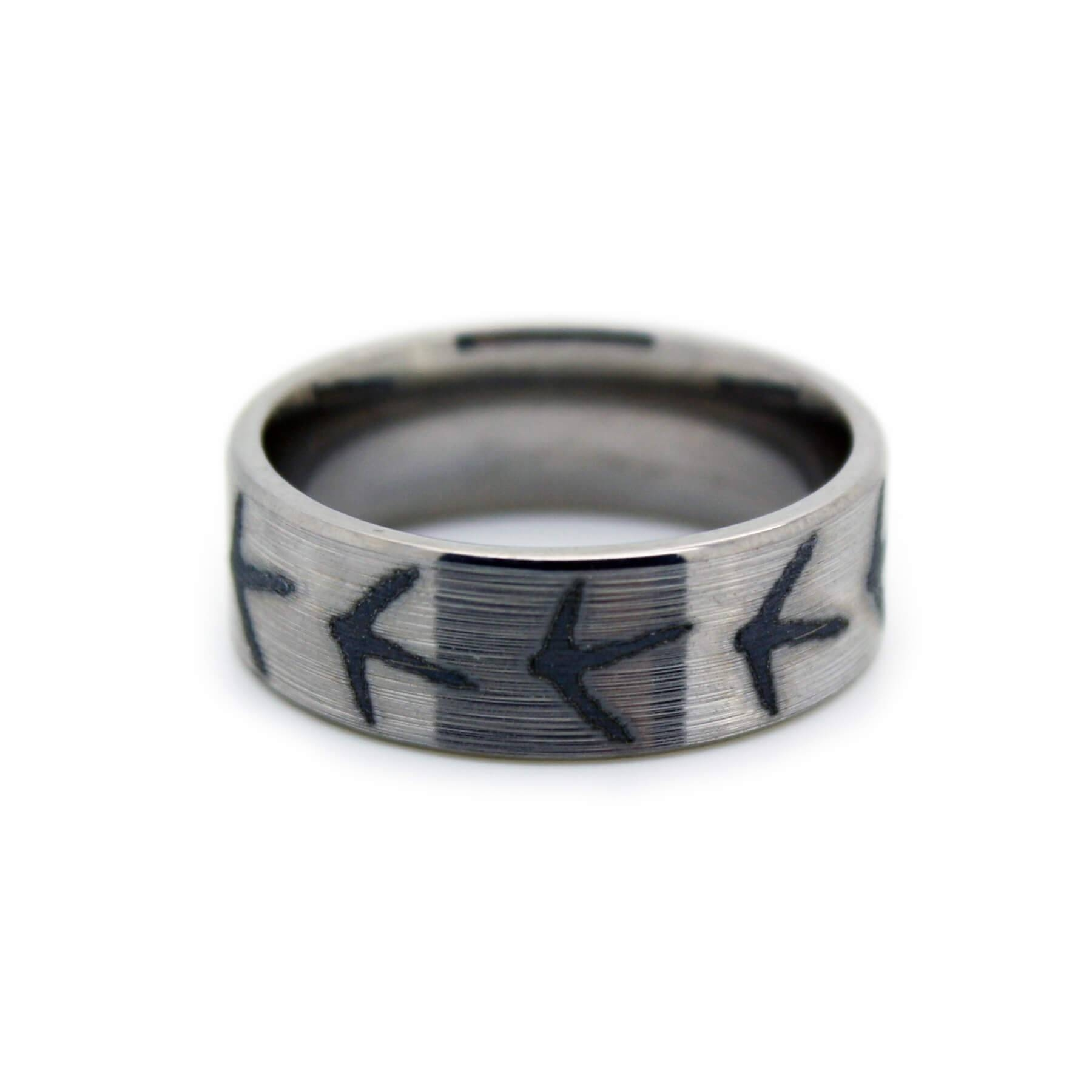 Turkey Hunting Wedding Band – Titanium Laser Engraved Foot Ring Regarding Titanium Mens Wedding Rings (View 12 of 15)