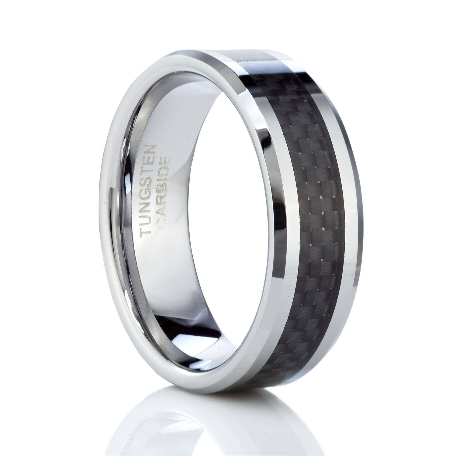 Tusen Jewelry 8Mm Black Carbon Fiber Inlay Men's Tungsten Carbide In Carbon Wedding Bands (Gallery 13 of 15)