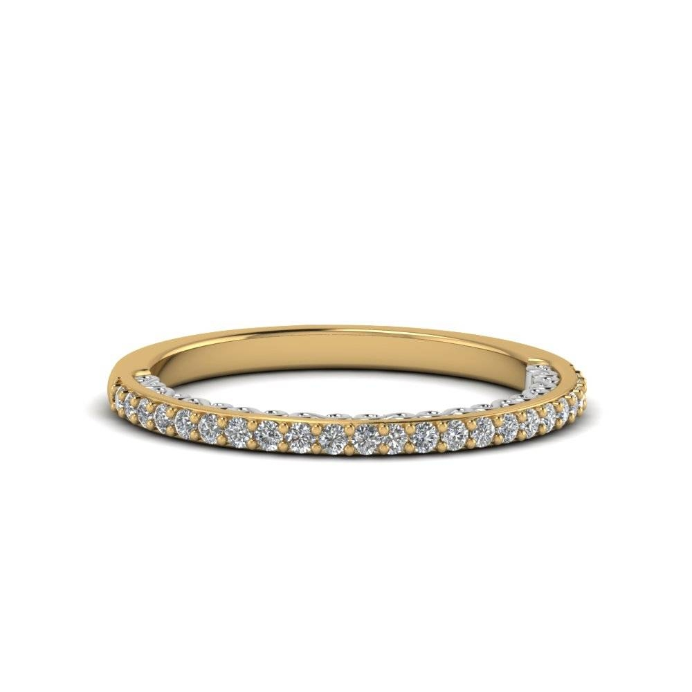 Two Tone Filigree Delicate Diamond Band In 14K Yellow Gold Inside Delicate Diamond Wedding Bands (Gallery 6 of 15)