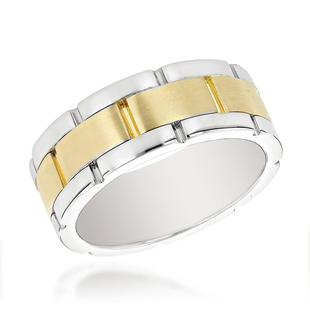Two Tone Gold Mens Wedding Band Comfort Fit Throughout Two Tone Men Wedding Bands (Gallery 3 of 15)