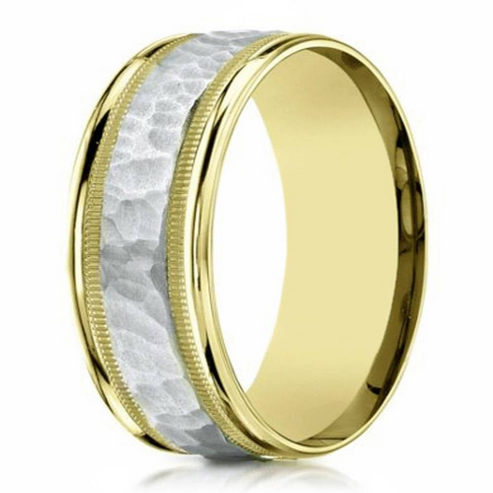 Two Tone Men's Wedding Ring In 14K Gold With Hammered Accent Throughout 6Mm White Gold Wedding Bands (View 14 of 15)