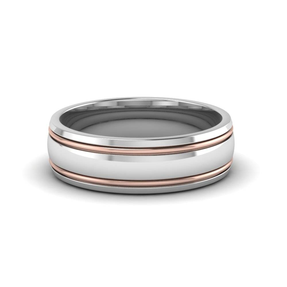 Two Tone Mens Wedding Ring In 14K White Gold | Fascinating Diamonds Within Rose Gold Men's Wedding Bands With Diamonds (Gallery 216 of 339)