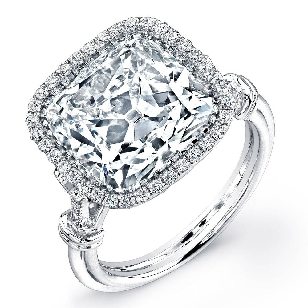 Uneek 7 Carat Cushion Cut Diamond Halo Engagement In 7 Diamond Engagement Rings (View 15 of 15)