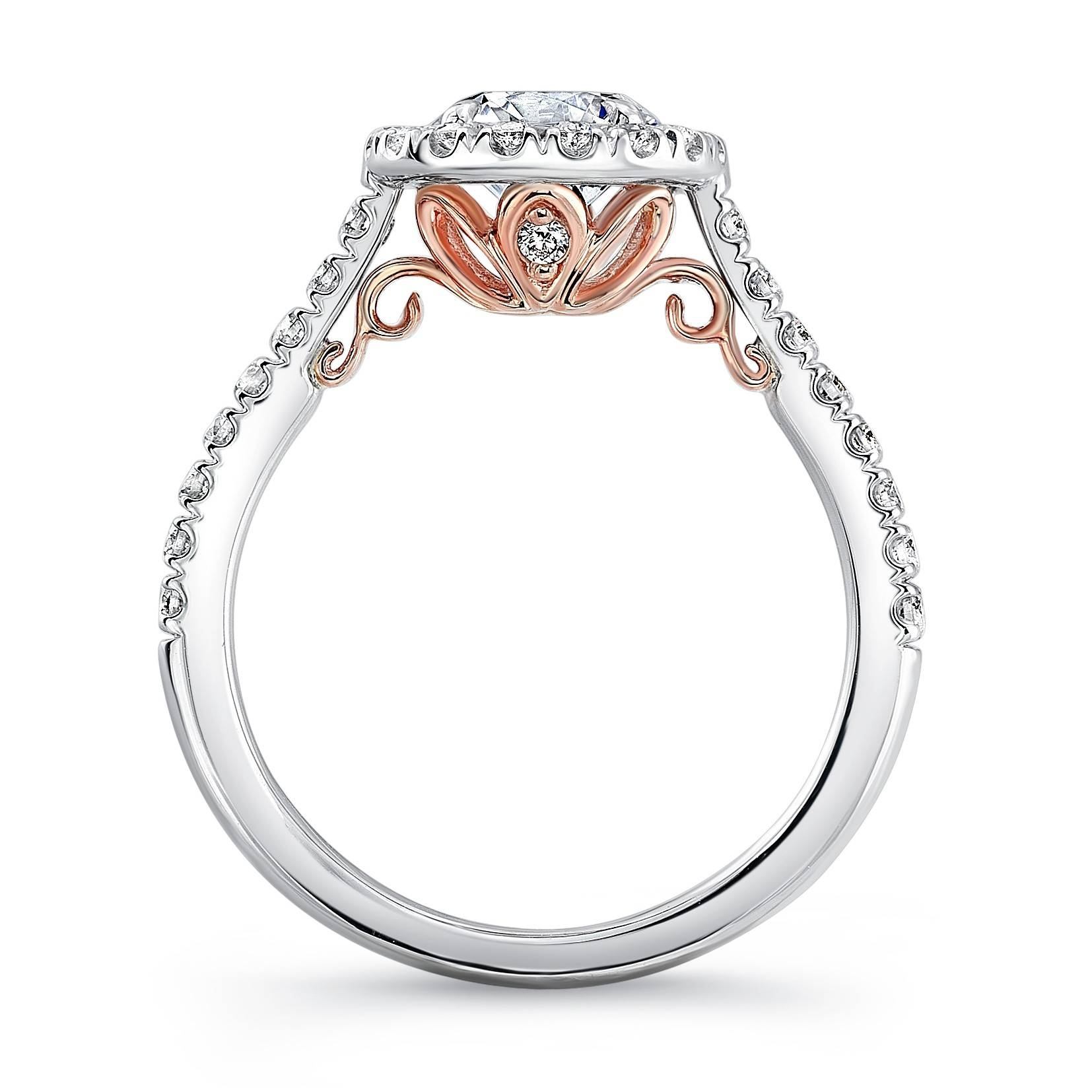 Uneek Fiorire Round Diamond & Cushion Halo Engagement Ring With Regard To Embedded Diamond Engagement Rings (Gallery 5 of 15)