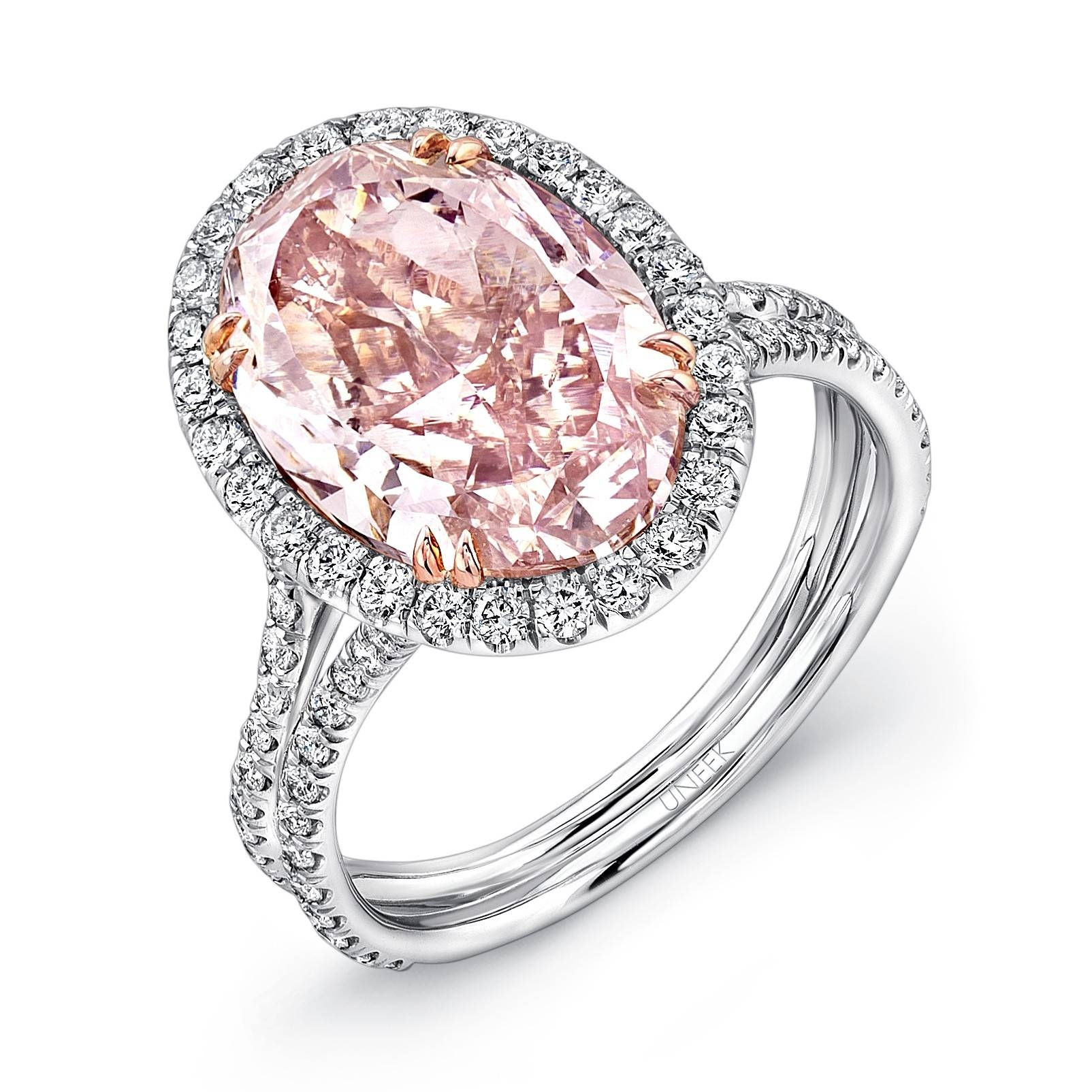 Uneek Oval Fancy Brown Pink Diamond Halo Engagement Ring With In Pink And Diamond Engagement Rings (View 15 of 15)