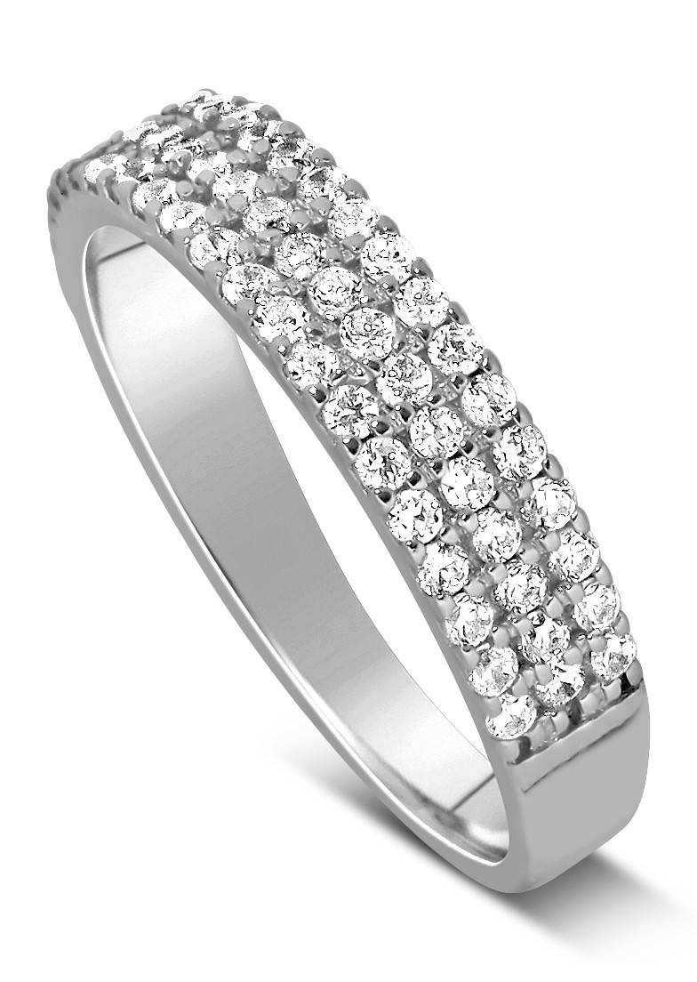 Unique 3 Row 1 Carat Round Diamond Wedding Ring Band In White Gold Regarding 3 Band Engagement Rings (View 11 of 15)