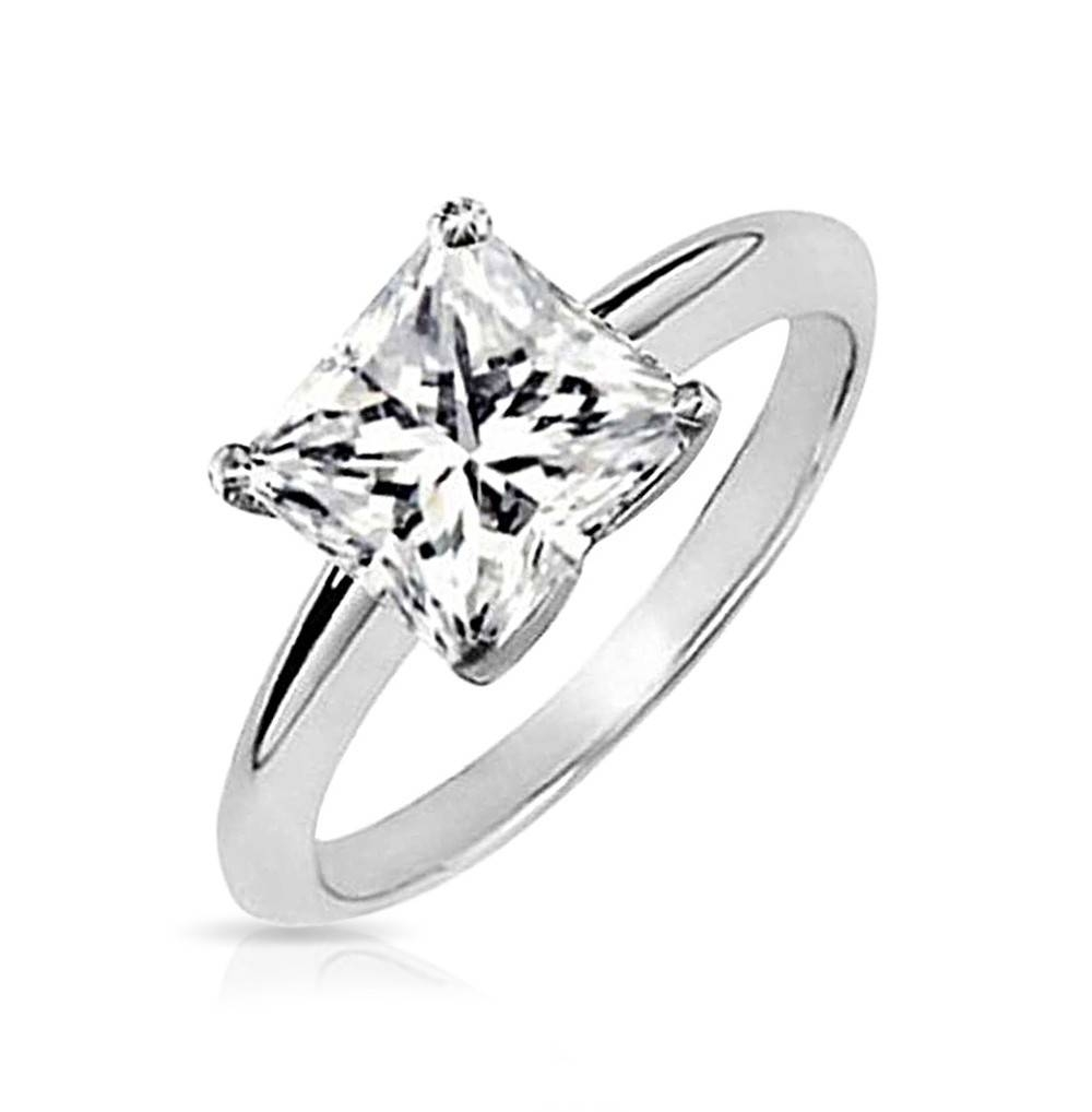Unique Engagement Rings – Sterling Silver Cz Engagement Ring Sets Inside Princess Shaped Engagement Rings (View 3 of 15)