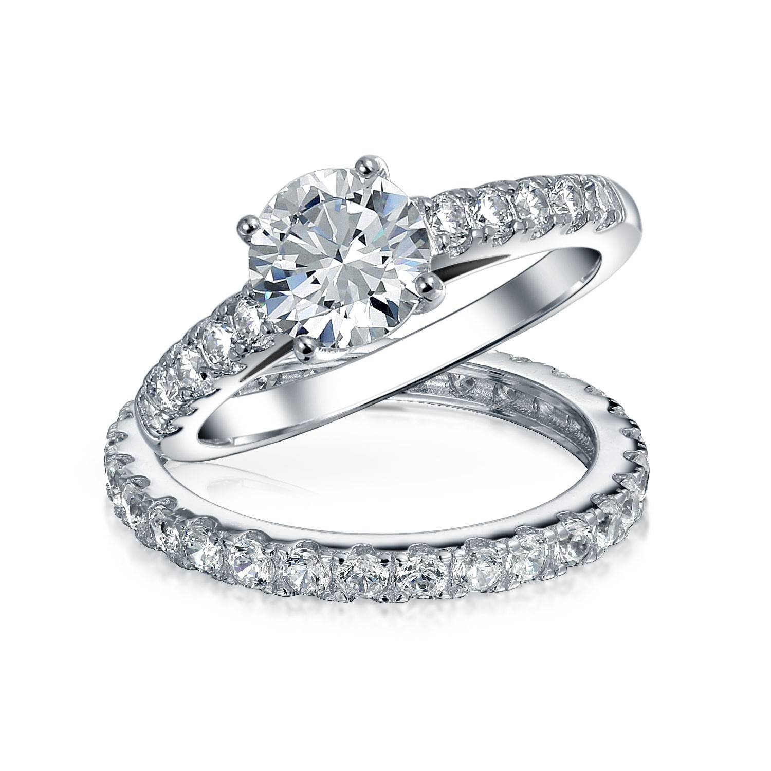 Unique Engagement Rings – Sterling Silver Cz Engagement Ring Sets Intended For Silver Diamond Wedding Rings (View 8 of 15)