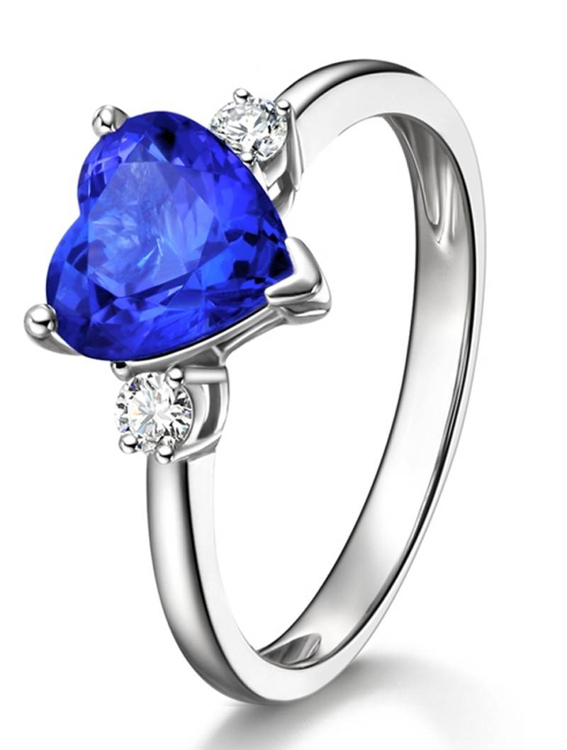 Unique Heart Cut Blue Sapphire And Diamond Trilogy Engagement Ring Inside Blue Heart Engagement Rings (Gallery 8 of 15)